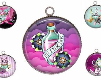 Pendant cabochon resin, model choice, 25mm, round, Alice, 05 country wonders, Wonderland