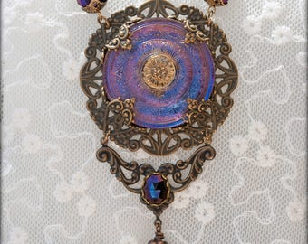 Violet Nebula ~ The Necklace -Peacocks and Paisley- Statement piece made with large antique Czech glass button and vintage Vulcan stones