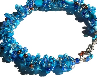 Ocean Blue Anklet, Seedbead, Mother of Pearl