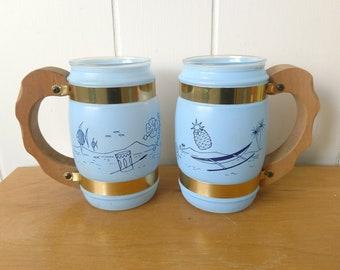 vintage blue tropical Siesta Ware mugs