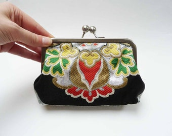 Clutch bag, decorative obi fabric, black and gold, Japanese fabric, evening purse