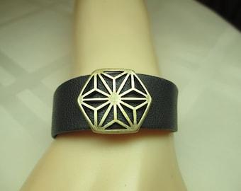 Wide Leather Bracelet in Black With Antique Gold Slider