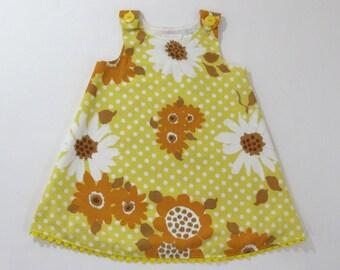 Yellow Sunflower Girls Dress, Toddler Dress, Girls Pinafore, Girls Sundress, Floral Dress, Vintage Fabric Dress, Size 18-24 Months, 2T, 3T