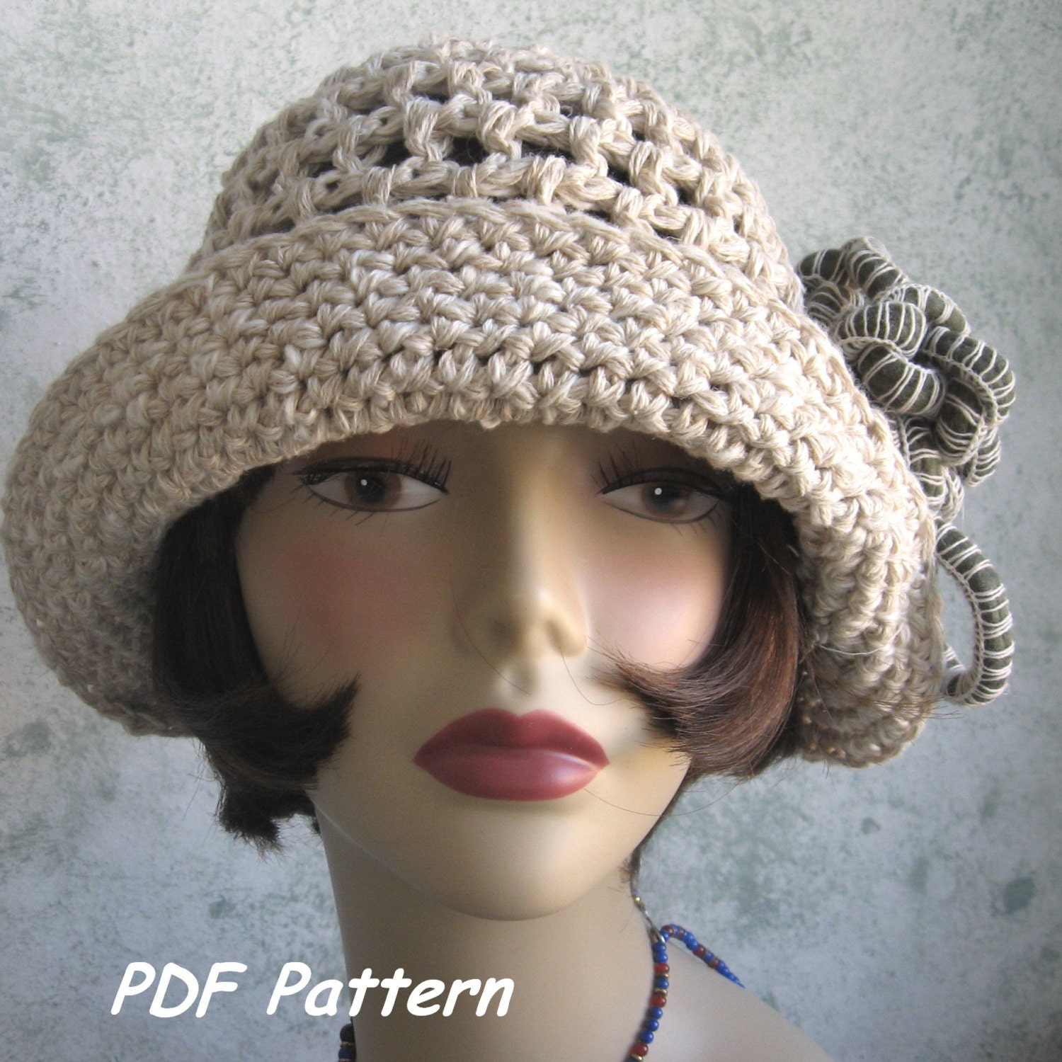 Brimmed Crochet Hat Pattern Cloche With Flower Trim PDF