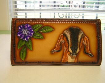 Leather Ladies Wallet with Wood grain Pattern on front and Nubian Goat, purple flower and wood grain design.