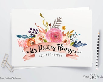 Instant Download Logo Photoshop Logo Watercolor Floral Logo PSD Logo Template Instant Logo Premade Logo Photography Logo Website Logo Blog