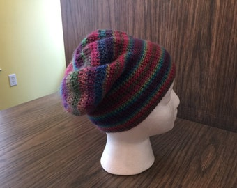 multicolored striped crocheted slouchy hat