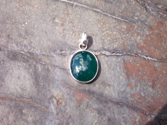 Green Agate & Sterling Silver Pendant - #119