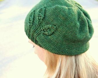 Pdf knitting pattern for feminine, beanie-style hat for women
