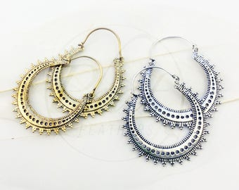 Tribal Brass Earrings, Ethnic Hoop Earrings, Boho Hoop Earrings, Gypsy Hoop Earrings, Big Hoop Earrings, Tribal Earrings, Festival Earrings
