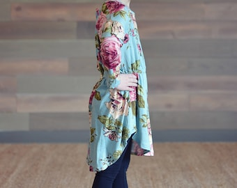 Floral Mint Girl's Tunic - Girl's Tunic, Floral Tunic, Mint Tunic, Spring Tunic