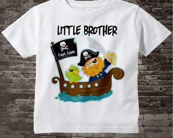 Little Brother Shirt - Little Brother Pirate Shirt or Onesie Bodysuit - Personalized Pirate Shirt or Onsie 04172013a3