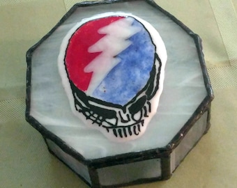 Grateful Dead Box-Steal Your Face-Stained Glass Jewelry Box-Grateful Dead Trinket Box-Grateful dead Art-The Grateful Dead