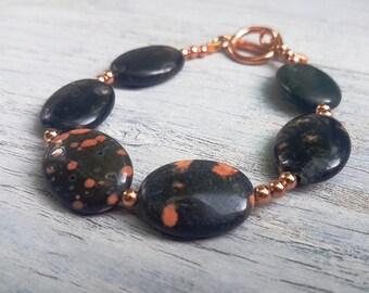 Jasper Necklace.  Jasper  Stone with Rose Gold Necklace.  JemstoneZ. Jem StoneZ