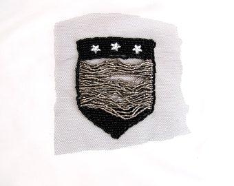 Beaded Holla Pocket Patch,Silver Pocket Appique,Star Pocket Patch,