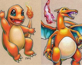 Charmander Charizard Pokemon print set