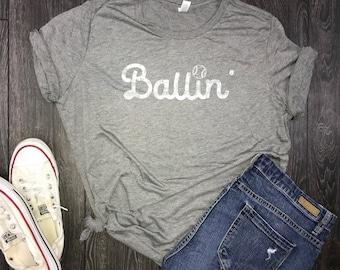 ballin baseball shirt for women, gameday, baseball tee, baseball mom shirts, baseball season, americas pastime, diamonds, ballin