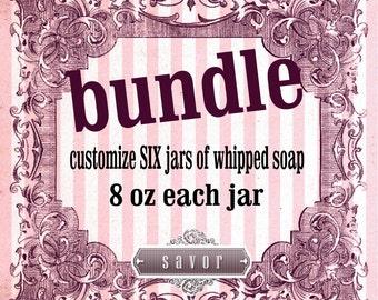 Chantilly de savon BUNDLE personnaliser six pots 8 oz fouettée savon sucre Ponce jojoba