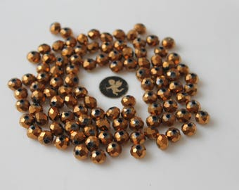 40 bronze faceted round 8 mm - jewelry - Bohemian glass beads