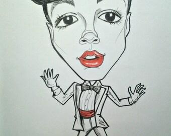 Janelle Monae Rock Portrait Rock and Roll Caricature Hip Hop Music Art by Leslie Mehl