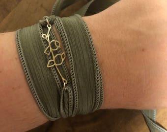Lovebird silk wrap bracelet