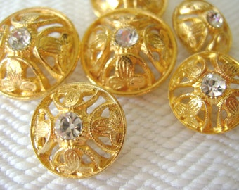 Rhinestone Vintage Buttons - 2 Mid Century Gold Metal 15mm 5/8 inch for Jewelry Beads Sewing Knitting