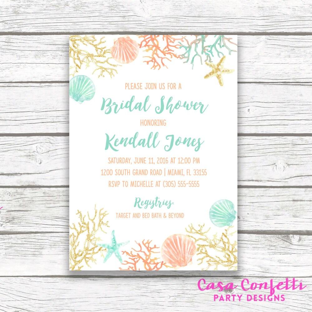beach bridal shower invitation coral starfish bridal shower invite turquoise and gold destination wedding printable invitation