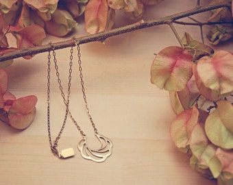 LINA Necklace: Cast Brass Charm on brass chain