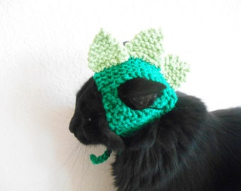 Knit Cat Hat  - Cat Dinosaur Hat - Cat Dinosaur Halloween Costume - Pet Halloween Costume - Cat Photo Prop - Knit Hat for Cat or Kitten
