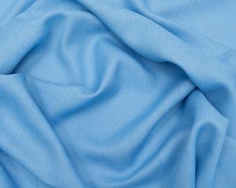 Pure Linen Fabric Light Blue Softened, 1 meter