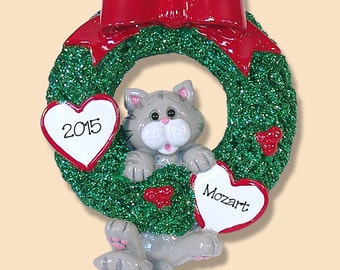 Gray Tabby Christmas KITTY CAT in Wreath RESIN Hand Painted Personalized Christmas Ornament