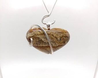 Heart Necklace | Picture Jasper Pendant | Heart Shaped Picture Jasper Pendant | Sterling Silver |  Picture Jasper Necklace | Stone Heart