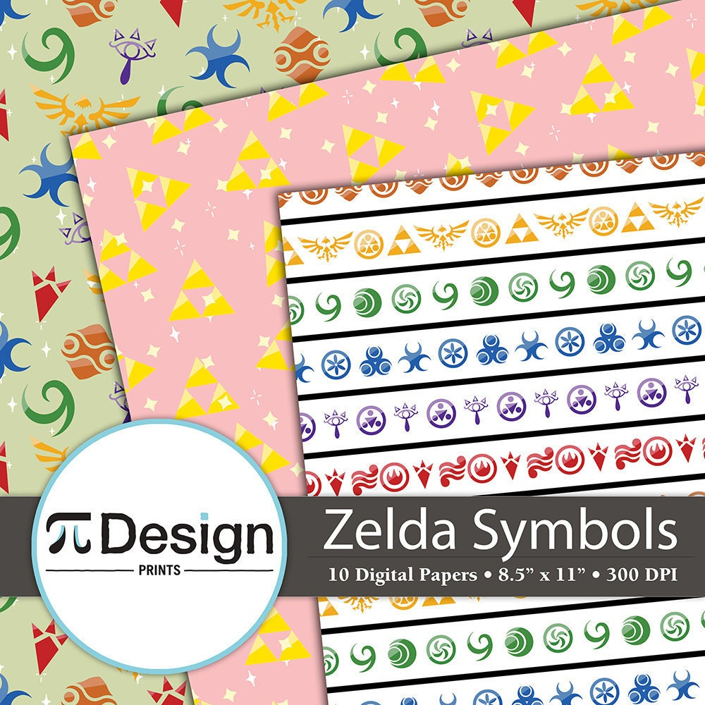 Zelda symbols 85x11 digital paper 10 pack video game this is a digital file biocorpaavc Images