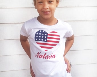 Girls 4th of July shirt, patriotic shirt, american flag shirt, girls fitted shirt, 4th of July toddler shirt, independence day