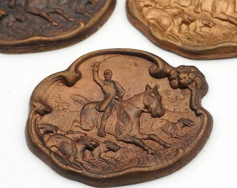 3 pcs vintage brass fox hunt stampings, hounds, horse and rider, great patina, 35mm