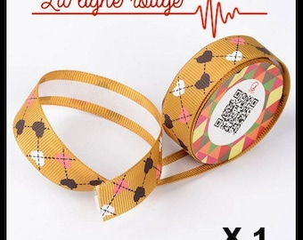 1 meter Masking Tape in silk (No. 53), Garland of hearts, washi tape, masking tape.