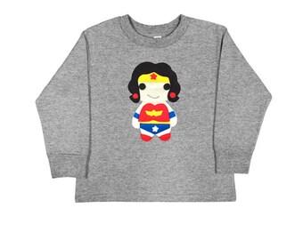 Kids Superhero Shirt - Wonder Girl - Long Sleeved Kids T-Shirt - Children's Clothing - Gift