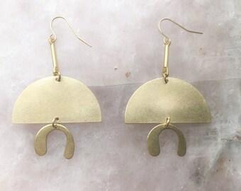 Brass Geometric Earrings