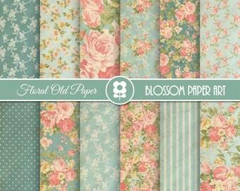 Teal Floral Digital Paper, Floral Digital Paper Pack, Vintage Scrapbook Paper, Shabby Chic Roses - INSTANT DOWNLOAD  - 1968