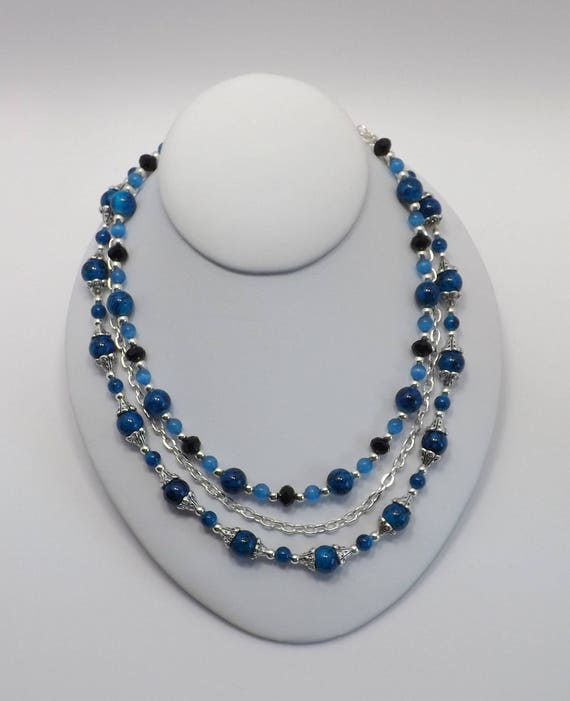 Triple strand Beaded Necklace in Shades of Turquoise Blue Sku: NK1012