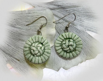 Handmade ceramic earrings - green earrings handmade - handcrafted ceramic earrings - pottery earrings - clay dangle drop earrings - ,# 98
