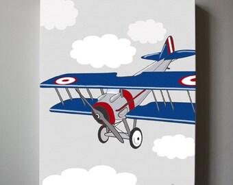 Vintage Airplane Boys wall art  - Airplane Canvas Art, Aviation  Boys Room Decor, Biplane Canvas Reproduction