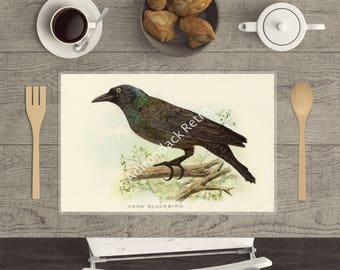 """Laminated Wildlife Placemat """"Crow Blackbird"""" - Rustic Table Decor - Bird Placemat - Camping Table Decor - Country Living Placemats"""