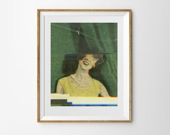 Glitch art vintage fashion poster. Giclée print on archival paper. 24 x 30cm photography collage art by Mikołaj Pasiński.