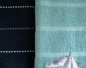 SAILBOAT KITCHEN TOWELS Set of 2 towels