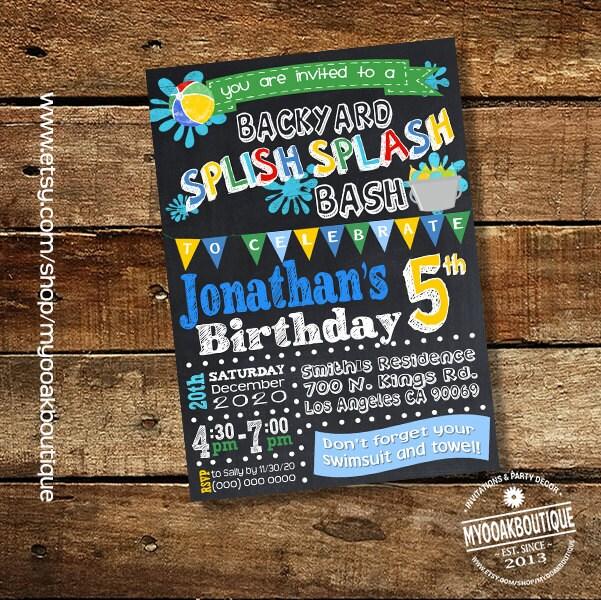 Splish Splash Party Invitation Backyard Bash Birthday Party