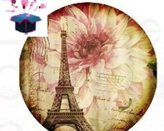 1 cabochon clear 20mm Paris theme
