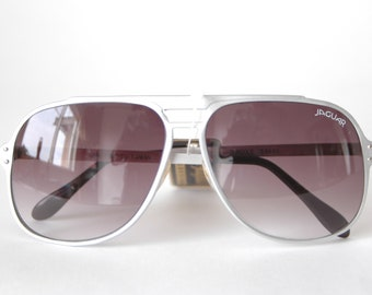 80s Jaguar Sunglasses - Silver Oversized Aviator Sunglasses with Purple Ombre Tinted Lenses - Large Silver Sunglasses - 1980s Jaguar Glasses