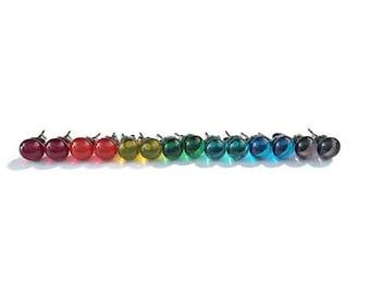 Small Stud Earrings - Rainbow Stud Earrings - Small Glass Earring Studs - Small Fused Glass Stud Earrings