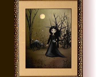 Zodiac Goth Girl Art Print ---  TAURUS